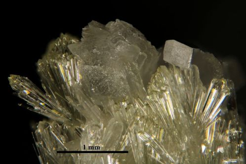Photograph of calcite on vesuvianite